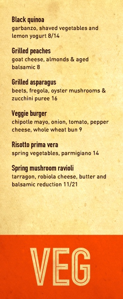 CHECK IT OUT:  NEW VEGETARIAN MENU